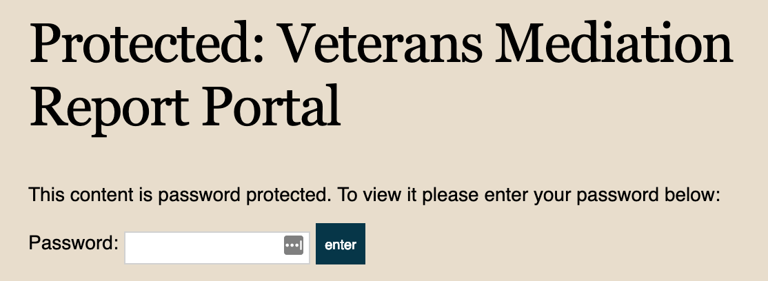 Veterans Mediation Report Portal